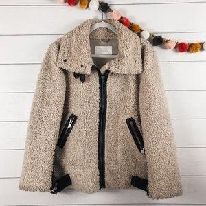 ZARA   Teddy Faux Shearling Leather Moto Jacket